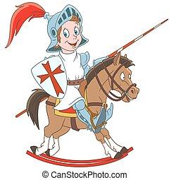 cavaliere, cartone animato, medievale