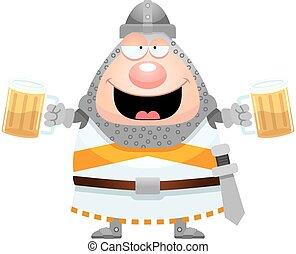 cavaliere, cartone animato, ubriaco