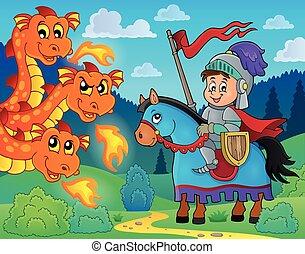 cavaliere, cavallo, appostando, drago
