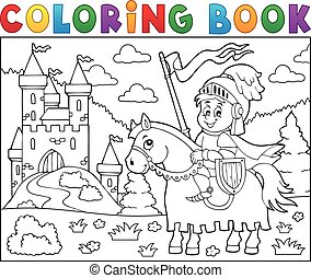 cavaliere, cavallo, coloritura, castello, libro