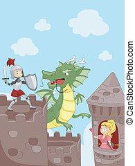 cavaliere, combattimento, uno, drago