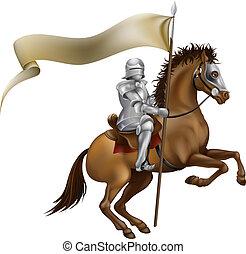 cavaliere, con, lancia, e, bandiera