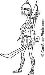 cavaliere, donna, cartone animato, illustrazione