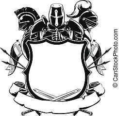 cavaliere, &, scudo, silhouette, ornamento
