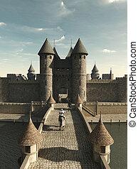 cavaliere, sentiero per cavalcate, a, castello, cancello