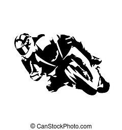 cavaliere, silhouette, astratto, vettore, motocicletta,...