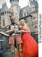 cavaliere, suo, lady., medievale, amato
