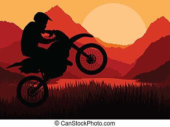 cavaliere, vettore, silhouette, motocicletta, motocicletta