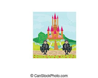 cavalieri, entrata, castello, guardia