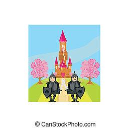 cavalieri, guardia, entrata, castello