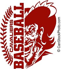 cavaliers baseball team design with stitches and half mascot...