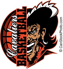 cavaliers basketball team design with ball and half mascot for school, college or league