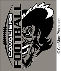 cavaliers football team design with laces and half mascot...