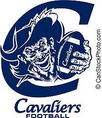 cavaliers football team design with mascot holding ball in...