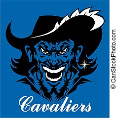 cavaliers mascot face with feather in brimmed hat for school, college or league