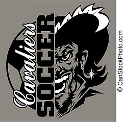cavaliers soccer team design with ball and half mascot for school, college or league