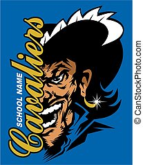cavaliers team design with half mascot for school, college...