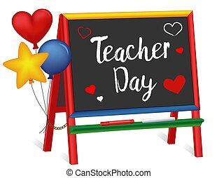 cavalletto, insegnante, giorno, lavagna, cuori, palloni, bambini