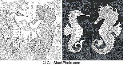 cavalli, coloritura, pagina, mare