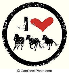 cavalli, gomma, amore, francobollo