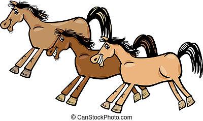 cavalli, mustang, o, illustrazione, cartone animato