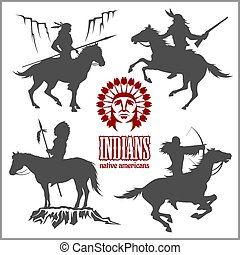 cavalli, ovest, -, silhouette, americano, guerrieri, selvatico, sentiero per cavalcate, nativo