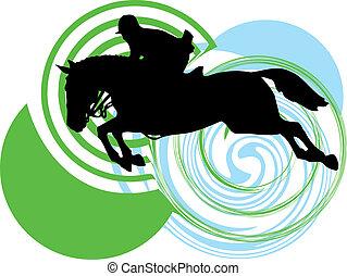 cavalli, silhouettes., astratto, vettore