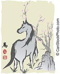 cavallo, anno, cinese, pittura