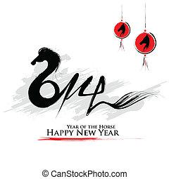 cavallo, anno, -, nuovo, 2014, felice