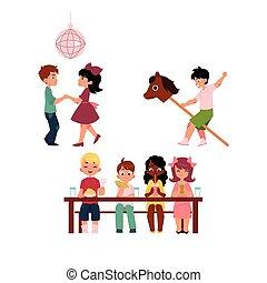 cavallo, bambini, ballo, bastone, mangiare, gioco