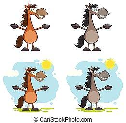cavallo, carattere, cartone animato, collezione, mascotte