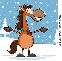 cavallo, carattere, cartone animato, mascotte