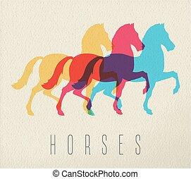 cavallo, carta, silhouette, fondo, colorito