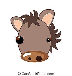 cavallo, cartone animato, animale