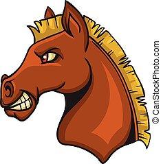 cavallo, cartone animato, animale, mascotte