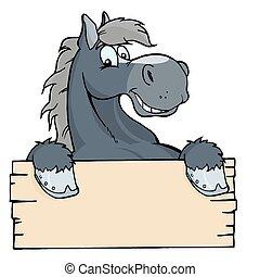 cavallo, cartone animato, etichetta