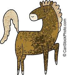 cavallo, cartone animato, felice