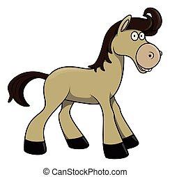 cavallo, cartone animato, illustrazione