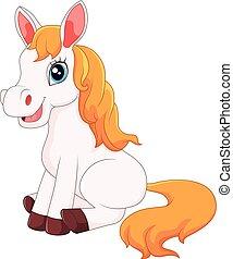cavallo, cartone animato, seduta