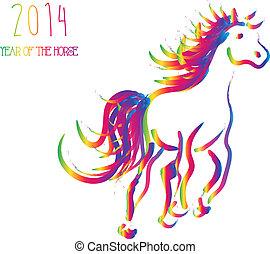 cavallo, cinese, isolato, nuovo, multicolor, anno, 2014
