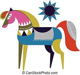 cavallo, colorito, semplice, illustrazione, fondo, bianco