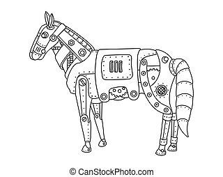 cavallo, coloritura, punk, vapore, vettore, libro