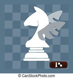 cavallo, con, wings., simbolo, per, disegno, isolato, su, white., campione, (vanquisher), astratto, segno., logotipo, idea., vettore, illustration.
