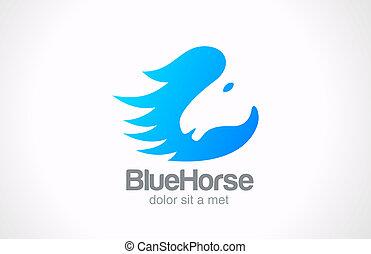 cavallo, concetto, silhouette, astratto, creativo, vettore, disegno, logotipo