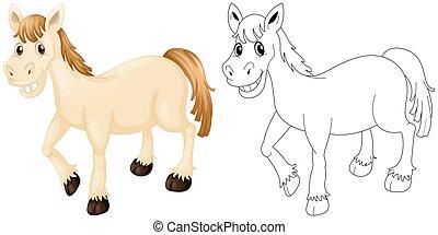 cavallo, contorno, animale, felice