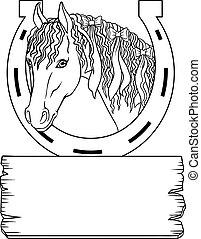 cavallo, elementi, cornice, text., posto, sagoma, tuo, design.