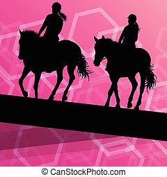 cavallo, equestre, vettore, fondo, sport, cavaliere