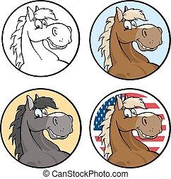 cavallo, etichette, testa, cerchio, vuoto