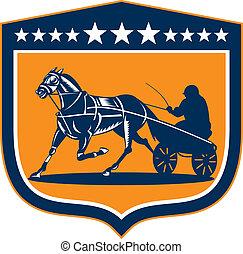 cavallo, fantino, scudo, bardatura, retro, da corsa