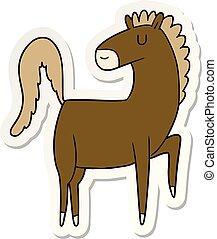 cavallo, felice, adesivo, cartone animato